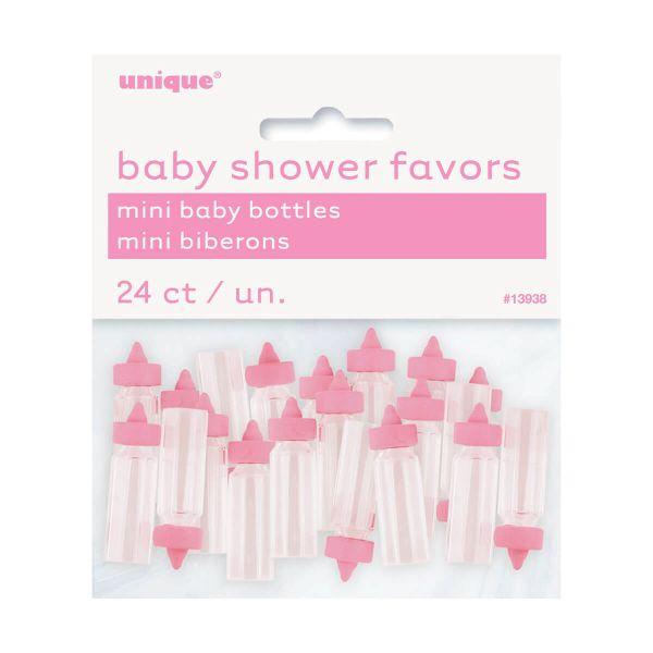 Deko Babyflaschen Mini rosa, 24 Stück