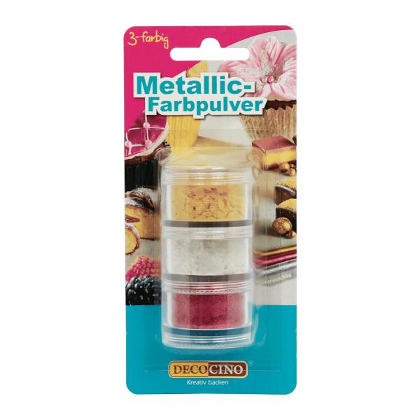 Metallic-Farbpulver Set gold/silber/rot