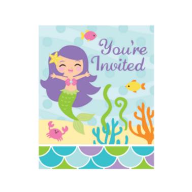 Einladungskarten Meerjungfrau mit Umschlag, 8 Stück