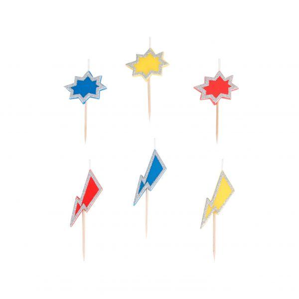 Mini-Kerzen Superhelden, 6 Stück