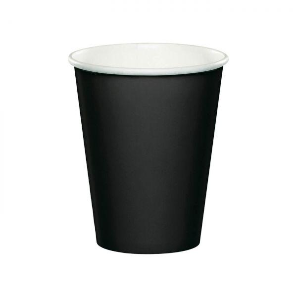 Pappbecher schwarz, 8 Stück