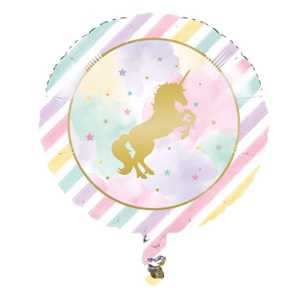 Folienballon goldenes Einhorn ⌀ 46cm