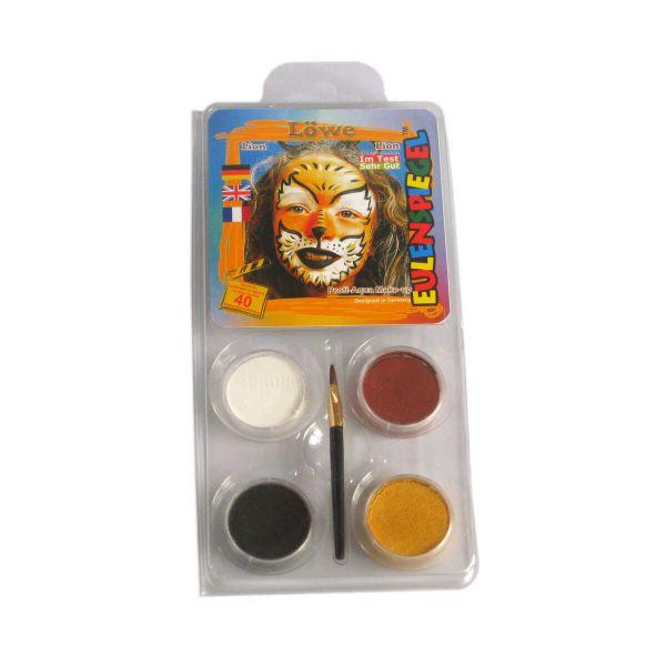 Aqua-Schminkfarbe Motiv-Set Löwe, mit Pinsel und Anleitung