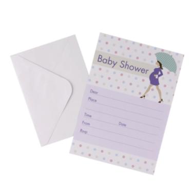 Einladungen Babyshower mit Umschlag, 10 Stück