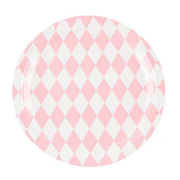 Pappteller Raute rosa ⌀ 23cm, 8 Stück