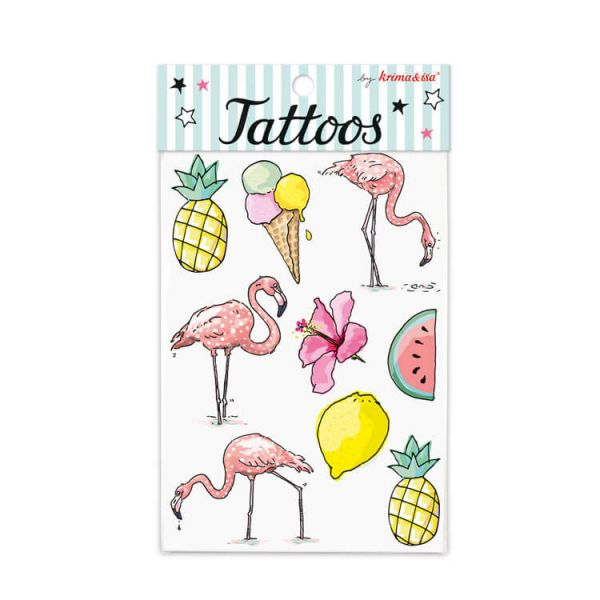 Tattoos Tropical Flamingo, 1 Bogen