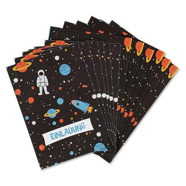 Einladungskarten Space mit Umschlag, 6 Stück