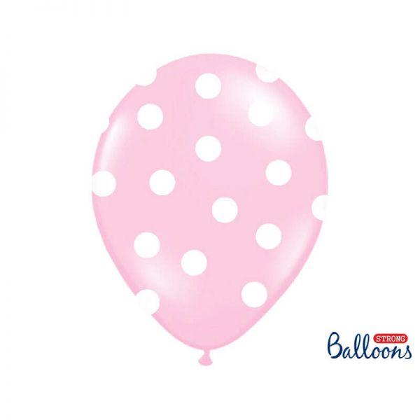 Luftballon rosa mit weißen Punkten 30cm, 6 Stück