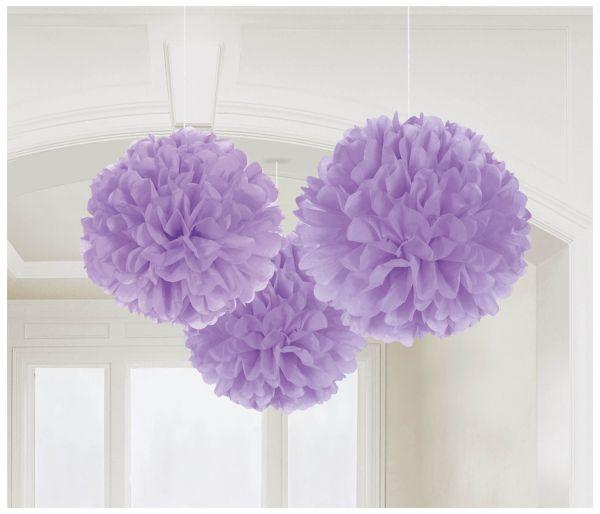Pompons lila, 3 Stück