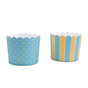 Muffinförmchen Streifen und Punkte blau-gelb, 12 Stück