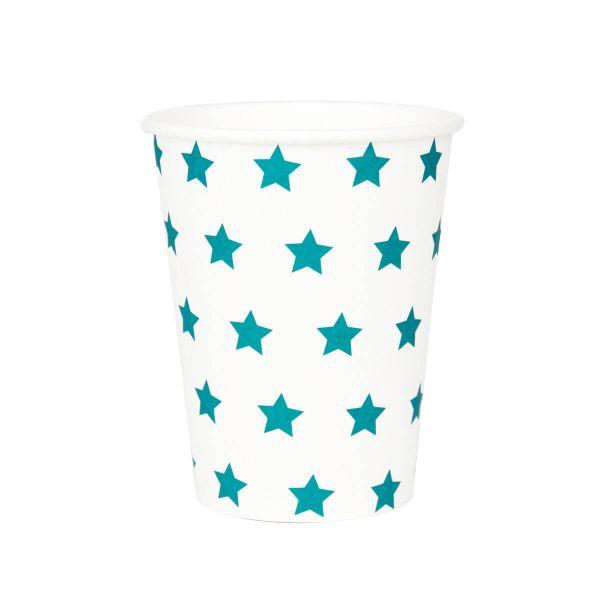 Pappbecher Sterne blau, 8 Stück