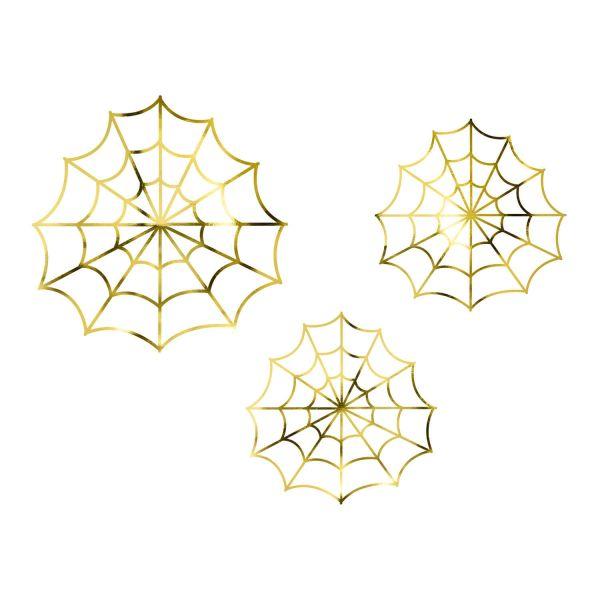 Spinnweben Deko-Set gold, 3-tlg