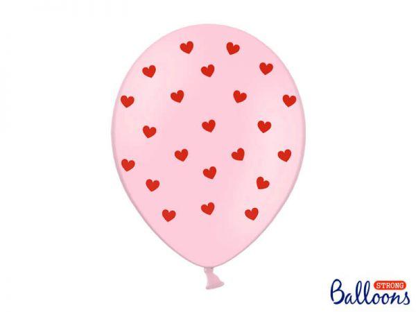 Luftballons Herzen Baby Pink, 6 Stück