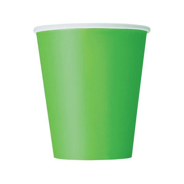 Pappbecher lime grün 270ml, 8 Stück