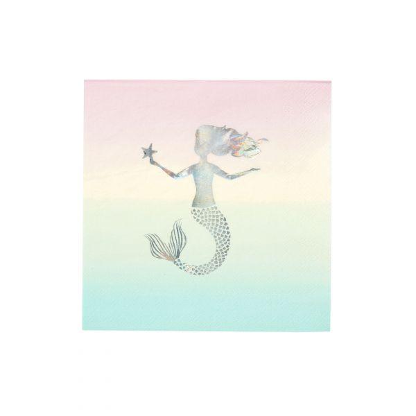 Servietten Meerjungfrau Pastell 33cm, 16 Stück